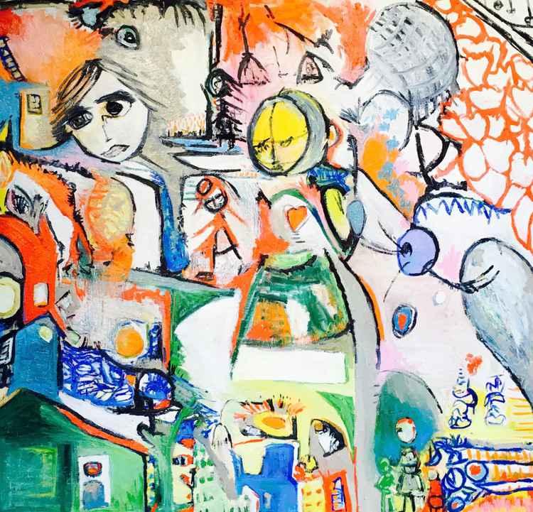 The heart underneath the floor, Original Art, Oil on Canvas