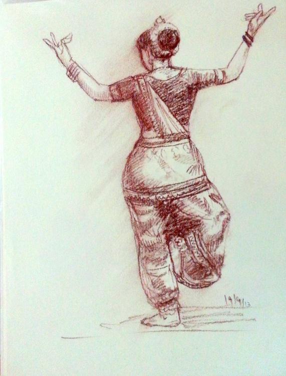 Indian Dancer in conte pencil - Image 0