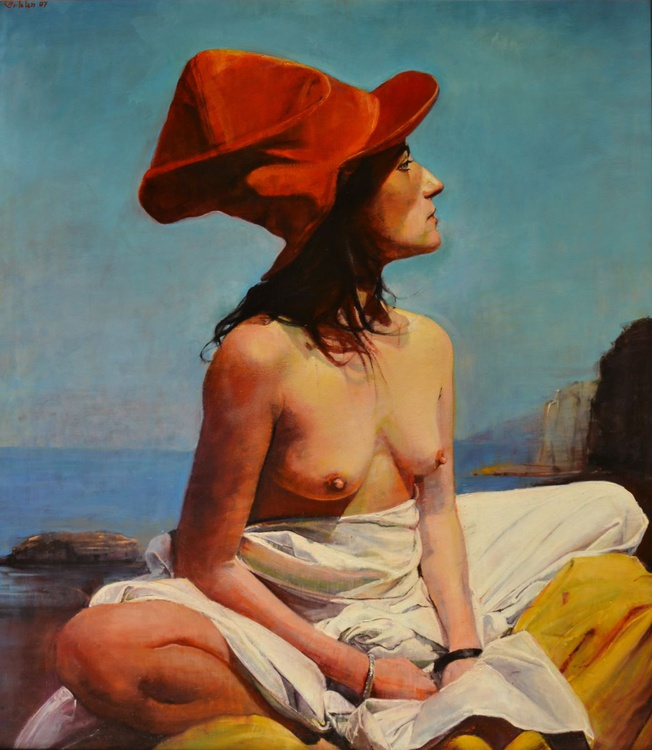 The Woman with the Red Hat. - Image 0