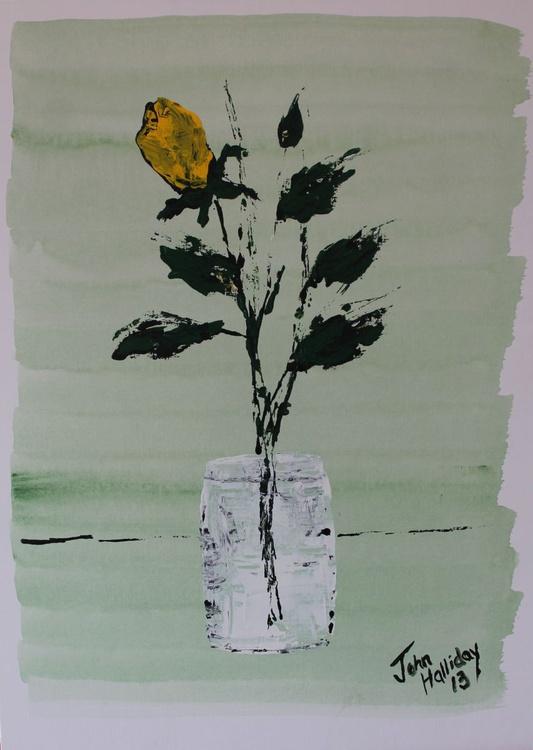 Yellow rose in vase. - Image 0