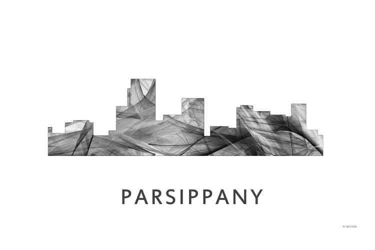 Parsippany New Jersey Skyline WB BW -