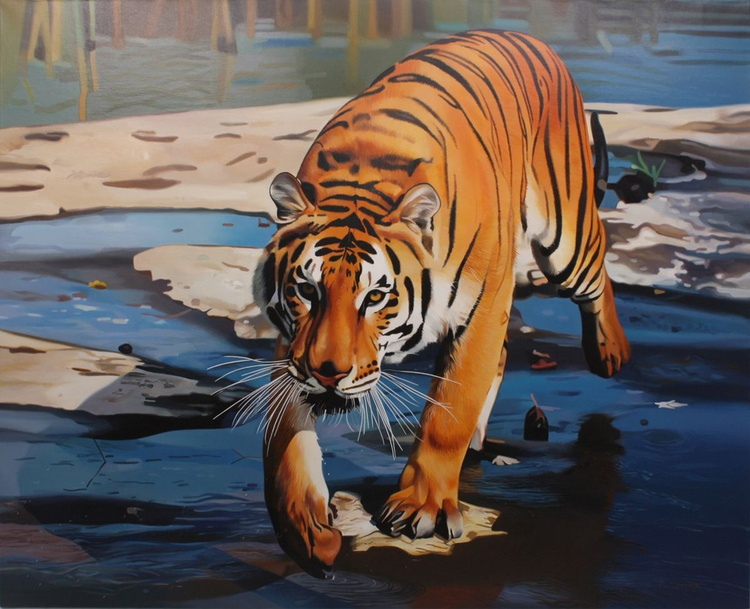 Tiger, Large painting - Image 0