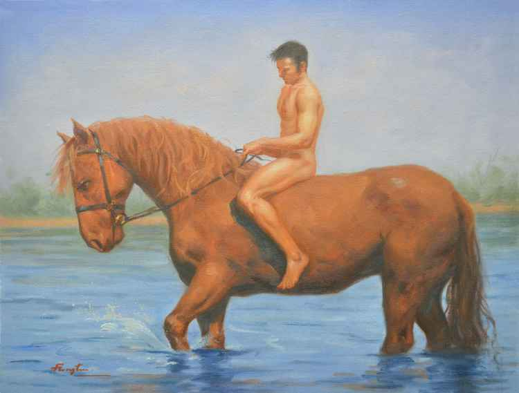 Oiginal Oil paintingl art male nude and horse in the river  on linen  #16-4-4-10 -