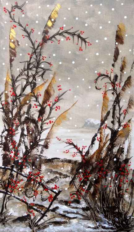Prickly Red Berries.  Acrylic on board -