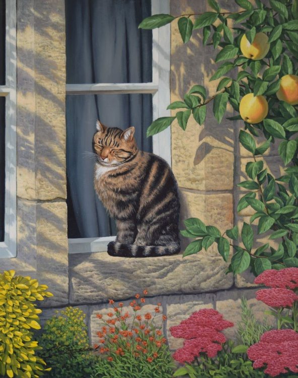 """A SUNNY SPOT"" Photorealistic cat oil painting. - Image 0"