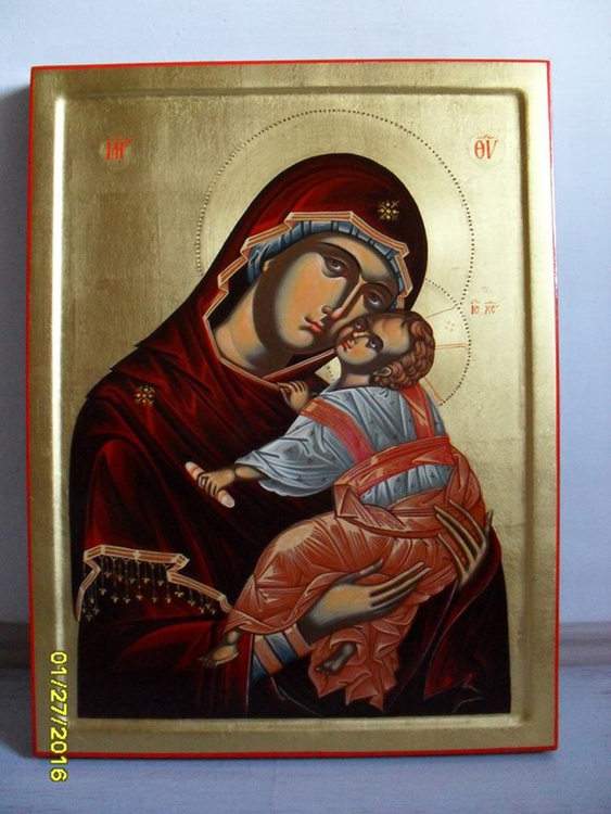 UNIQUE PRICELESS BYZANTINE RELIGIOUS CHRISTIAN ICON ON WOOD 24K GOLD LARGE - Image 0