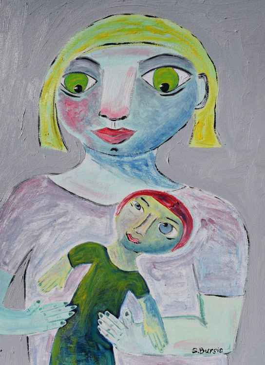 Quirky Artwork of Mother with child