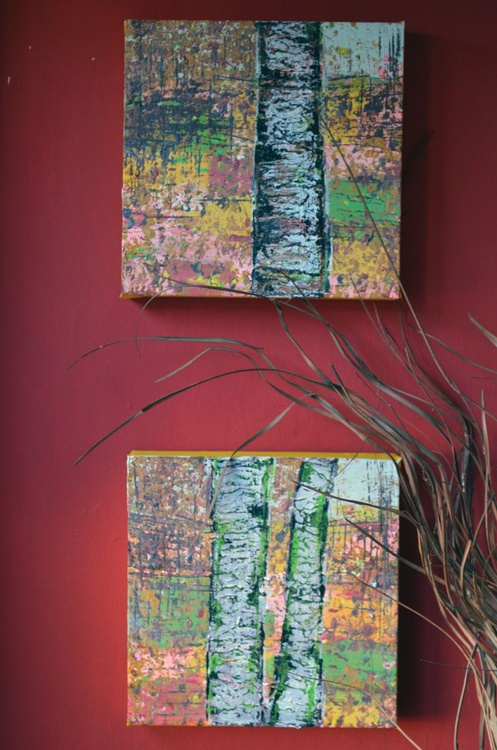 "Diptych ""Tree Trunks"" -  Deep Edge Canvases Ready To Hang - Image 0"
