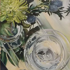 """Glass Reflections with thistles 1, 2015"" by Louisa J  Simpson"