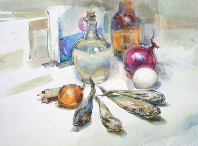 Still life. Gobies and matches. -