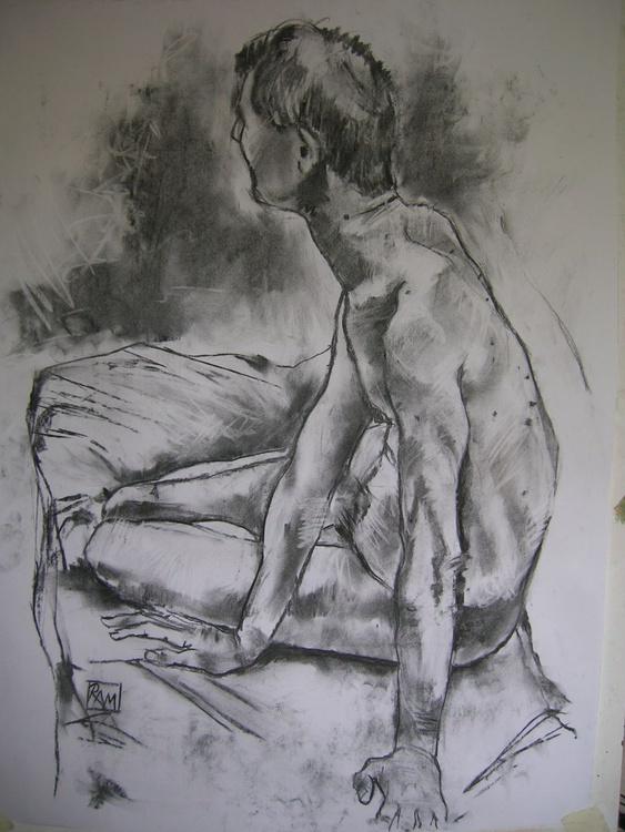 Male nude seated - Image 0