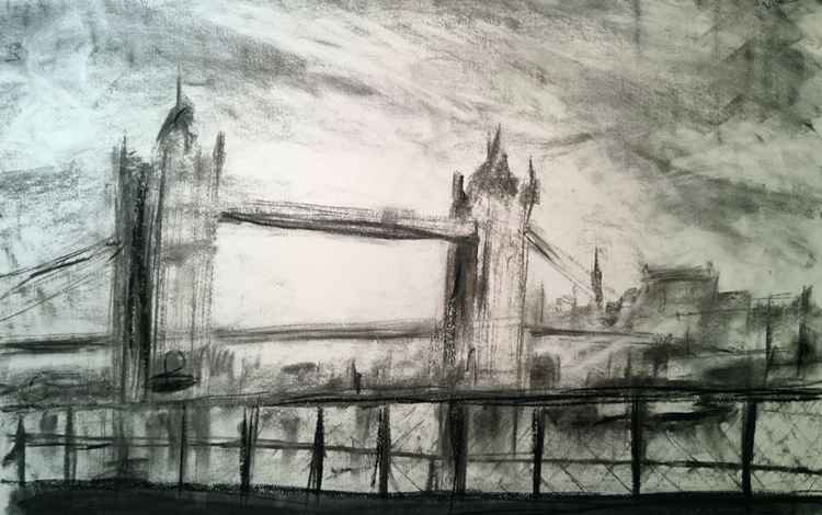 Tower Bridge - Charcoal Drawing