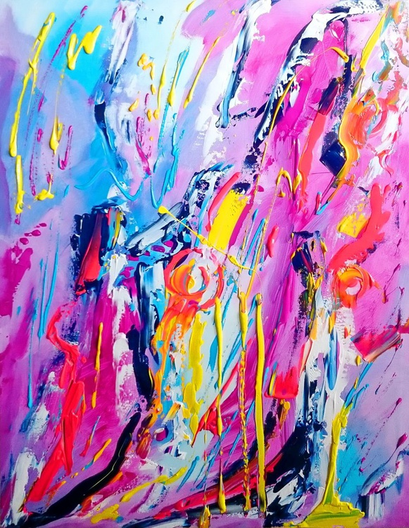 WATERFALL OF A POSITIVE ABSTRACT; BIG SZE, FOR DECORATION HOME,OFFICE, RESTAURAUNT - Image 0
