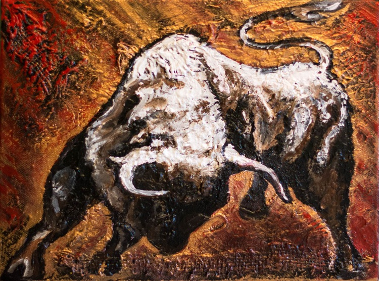 """Toro"",original acrylic painting 40x30cm, ready to hang - Image 0"