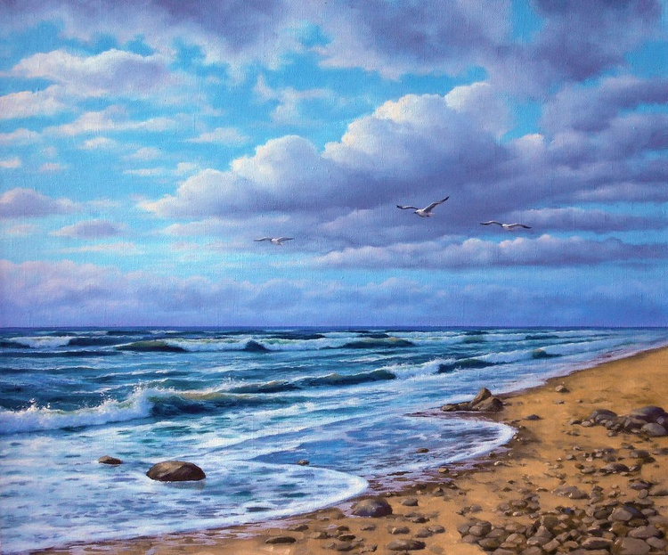Seascape/Original oil on canvas/Free Shipping - Image 0