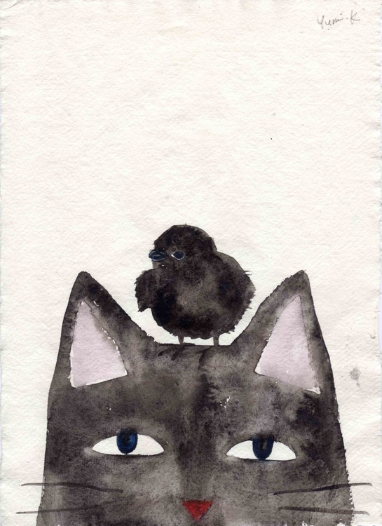 Black cat and baby crow - Image 0