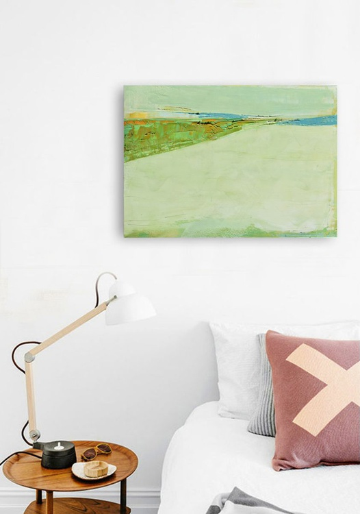 "Original, abstract oil painting ""Horizon 32"", oil painting on canvas. - Image 0"