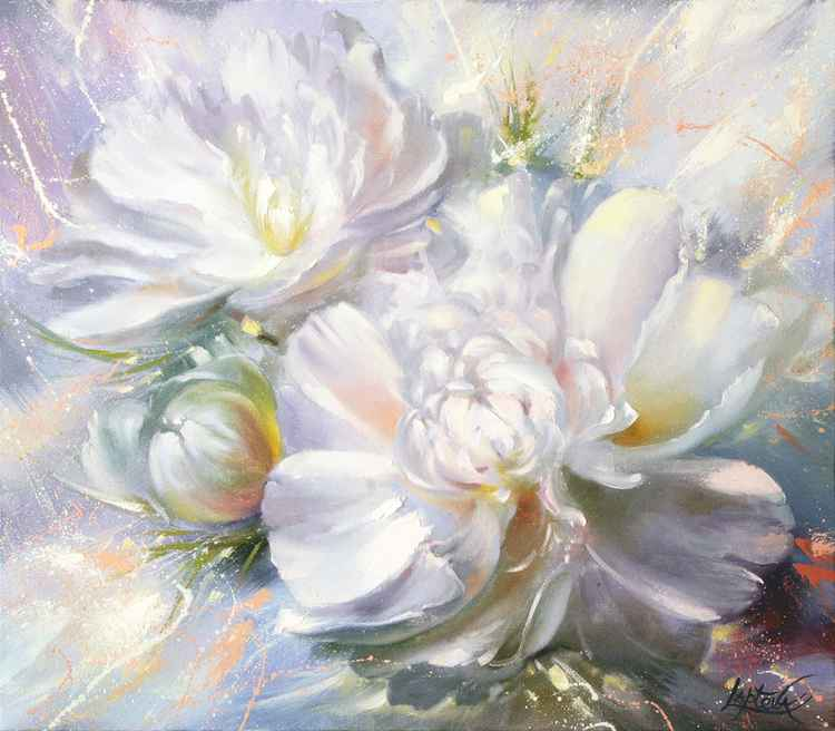 White peonies -