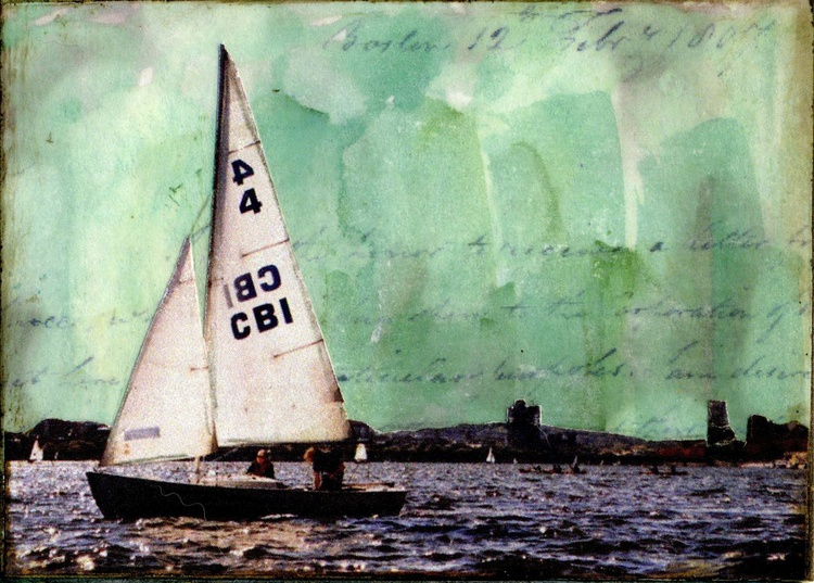Sailboat, Mixed Media Miniature Art - Image 0