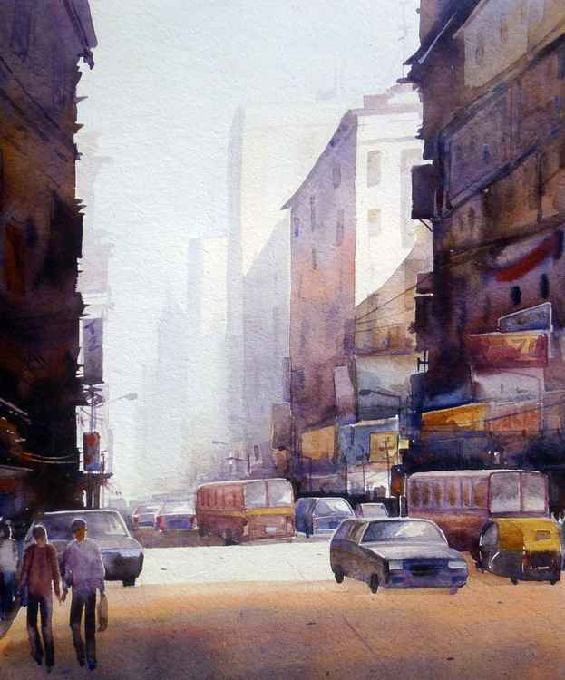 City at Morning-Watercolor on Paper -
