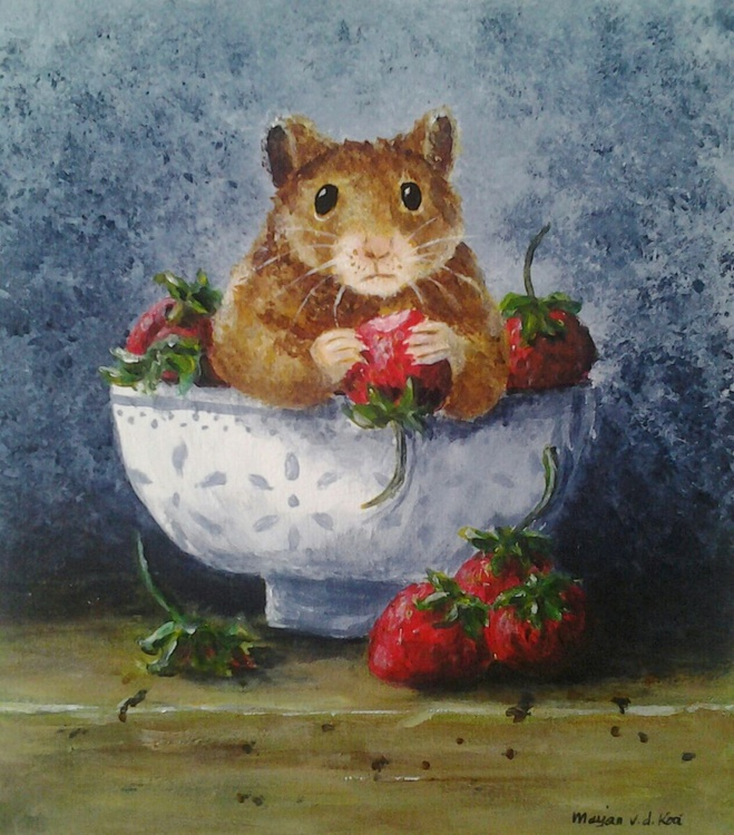 """""""STRAWBERRY THIEF"""", still-life with a twist in white painted frame - Image 0"""