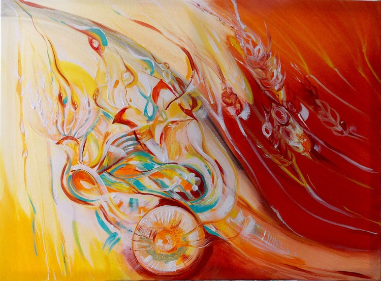 """""""The power of life"""" - Abstract landscape original Painting, love birds - Image 0"""