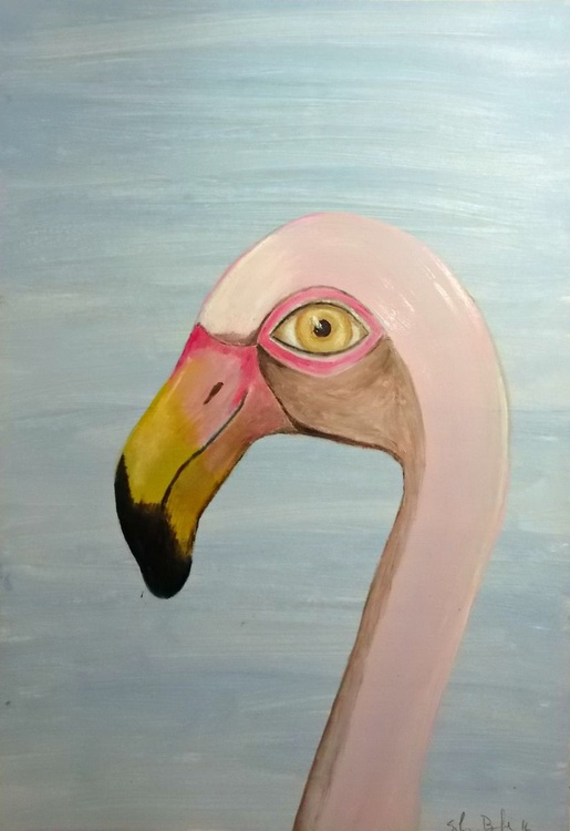 The pink flamingo - oil on paper - Image 0
