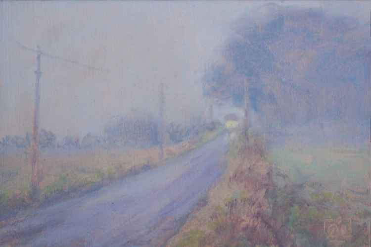 Misty Welsh road with school bus -
