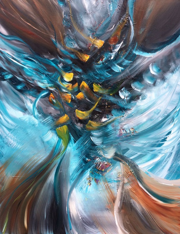 """""""Believe"""" ,  Large Abstract Acrylic Painting - 28x36inches - Image 0"""