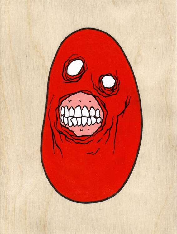 Evil Masked Zombie Pebble (red) - Image 0