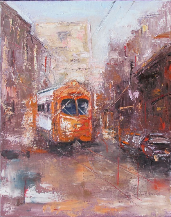 Tram to the Future, Handmade oil painting One of a kind - Image 0