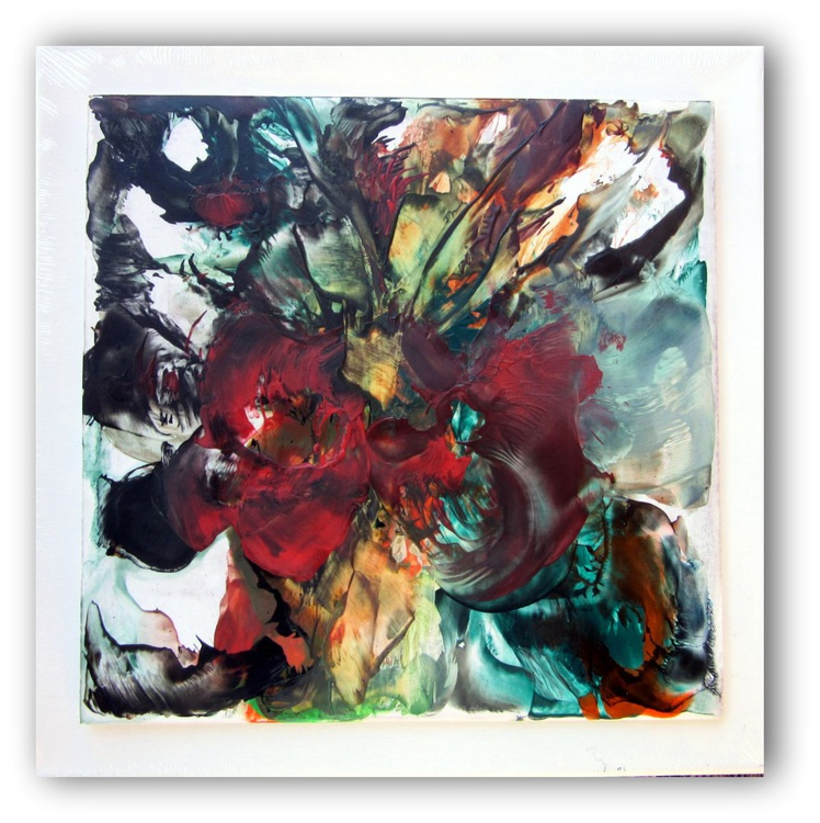 """12x12"""" Abstract Encaustic """"The flower Tree"""" - Image 0"""
