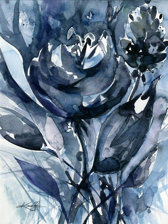 Organic Impressions No. 121 - Flower Watercolor Painting - Image 0