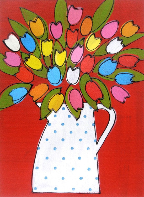 Tulips in a Polka Dot Jug - Image 0