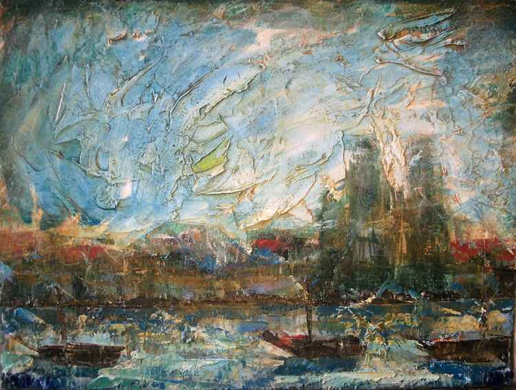Abstract landscape with Boats -