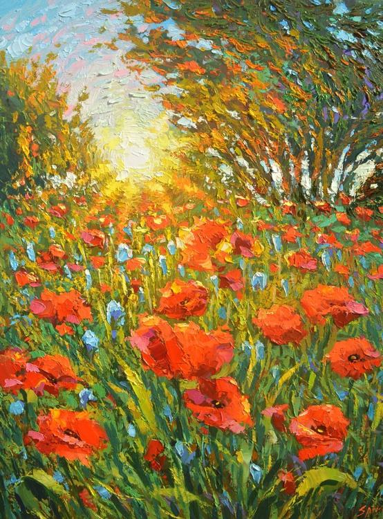 Sunset poppies - ORIGINAL OIL PALETTE KNIFE PAINTING, SIZE: 60CM X 80CM - Image 0