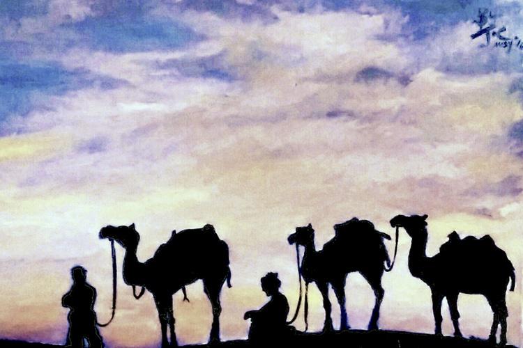 Sahara desert waiting for sunset - Image 0