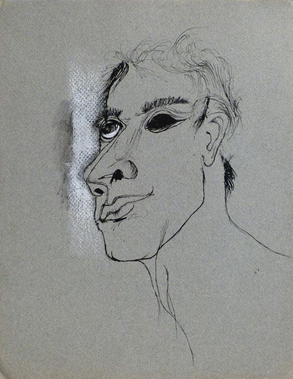Anamorphosis, ink and pastel on grey paper 24x32 cm - Image 0