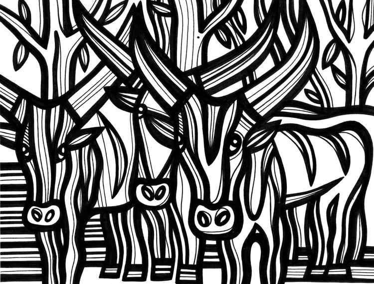 Wild Antelopes Ubiquitous Framed Original Drawing -