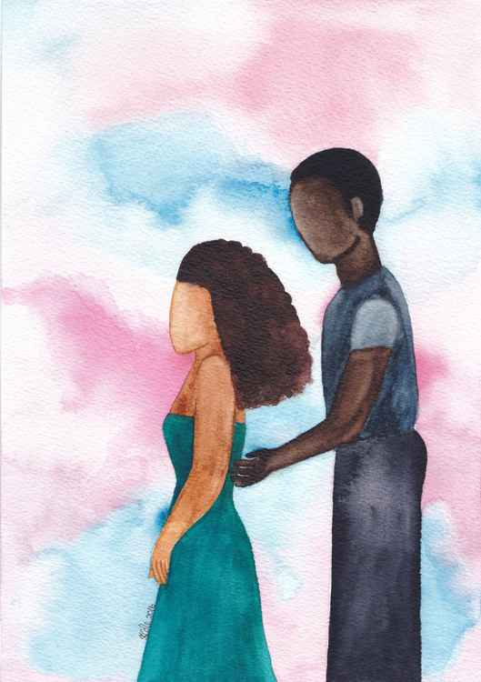 'The Apology' African American Art, Original Watercolour Painting -
