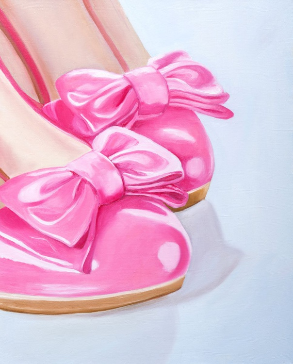 Original artwork Pink shoes, Shoes with bows - Image 0