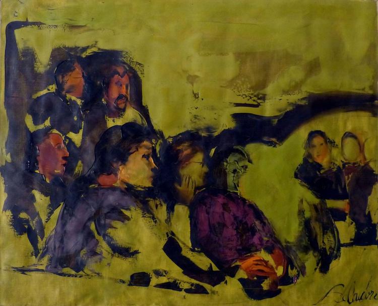 Spectators, oil on canvas, 73x60 cm - Image 0