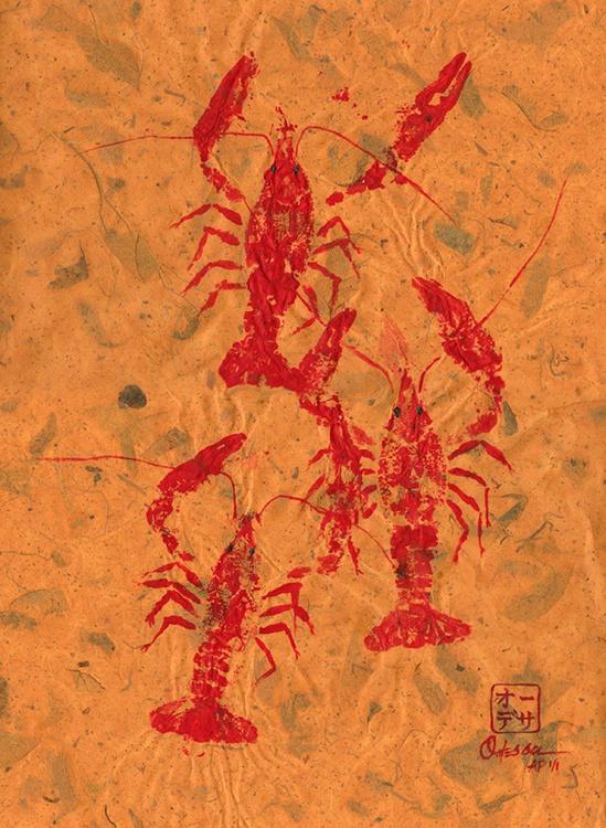 Triple Crawfish Gyotaku - Image 0