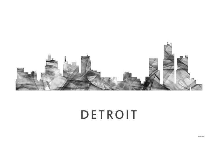 Detroit Michigan Skyline WB BW