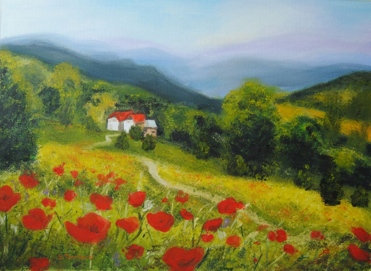 Landscape with poppies - Image 0
