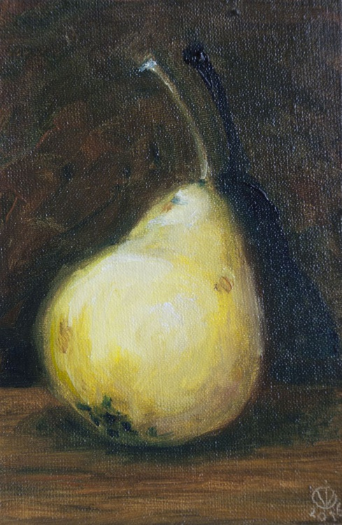 Little Pear (10x15cm) original oil painting still life realistic impressionistic small gift kitchen decor - Image 0