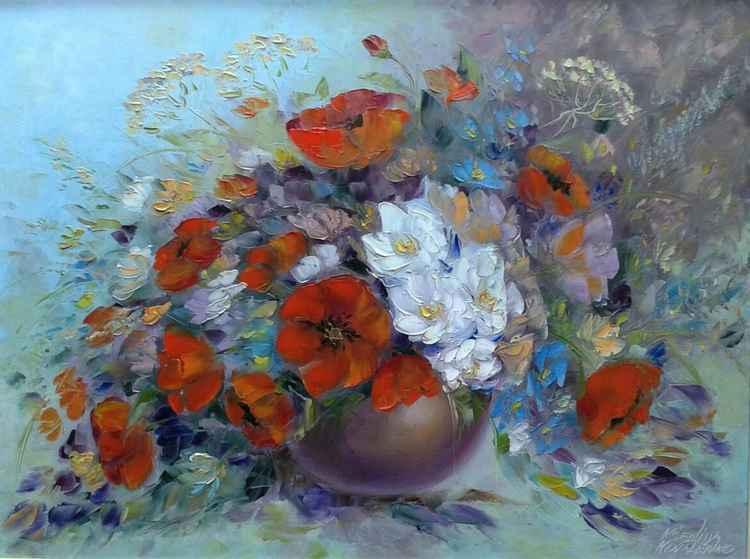 painting  *Маки- как губы полные соблазна и любви...*Oil on canvas 80х60 cm -