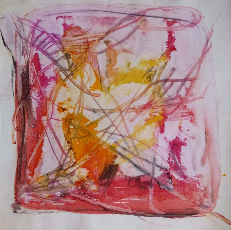 Pink and Yellow Square Abstract Drawing, 40x40 cm - Image 0