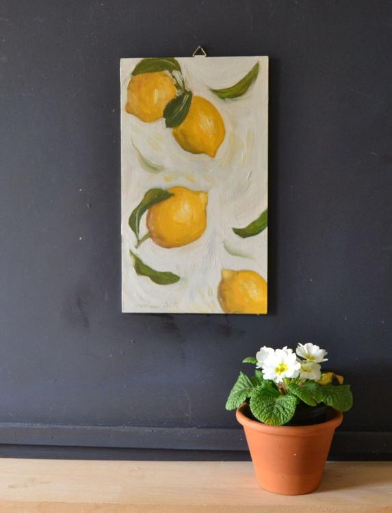 Flying Italian Lemons Modern Kitchen Painting - Image 0