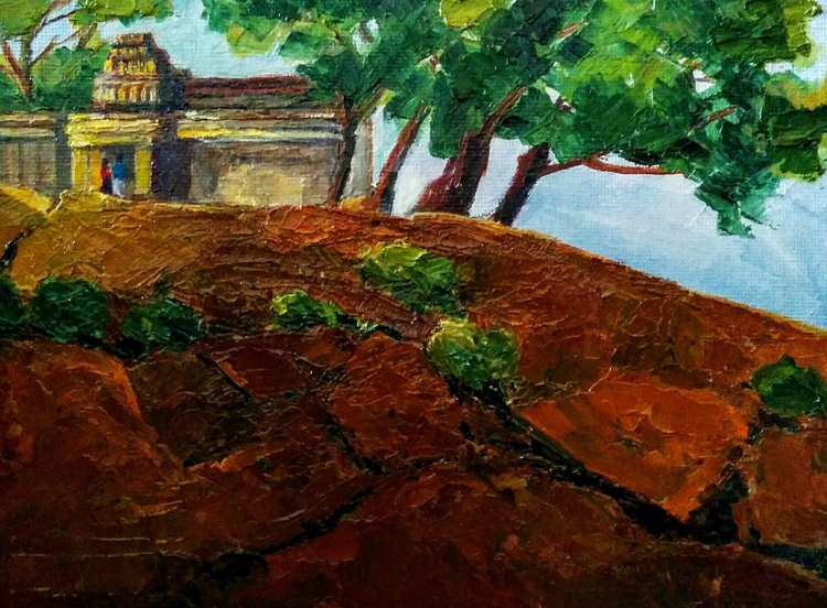 Framed Small Paintings, Temple on the hillock, Landscape - Image 0
